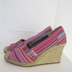 Toms Women's 6.5 Wedge Heels Striped Multi-color